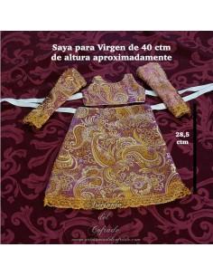 Saya de Brocado morado y dorado con el filo dorado para Virgen de 40 ctm en venta en nuestra tienda cofrade
