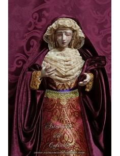 En venta esta bonita Virgen Dolorosa de 55 ctm de altura vestida solo en nuestra tienda cofrade.