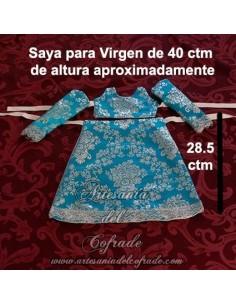 Saya de brocado celeste y plata con el filo plateado para Virgen de 40 ctm en venta en nuestra tienda cofrade
