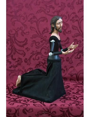 cristo de rodillas orando de 43 ctm de altura para vestir.