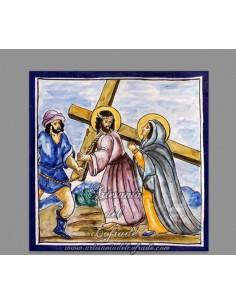 Azulejo cuadrado momento de la Pasión de Cristo