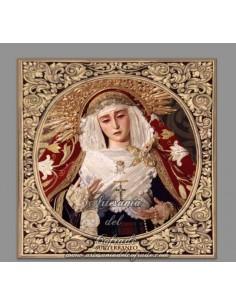 Azulejo cuadrado de la Virgen del Subterraneo de Sevilla con greca