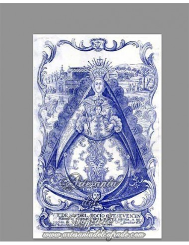 Reprodución en azulejo rectangular de la Virgen del Rocio