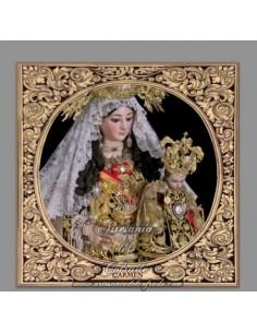 Azulejo con greca cuadrado de la Virgen del Carmen de Cordoba