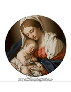 Imán redondo plastico de Virgen con niño jesús