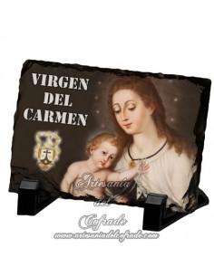Bonita reproducción en Pizarra rectangular de la virgen del Carmen