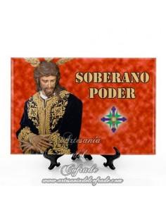Bonito azulejo rectangular del Cristo del Soberano Poder de Sevilla (San Gonzalo)