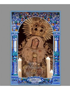Precioso azulejo rectangular de la Virgen del Castillo  (Patrona de Lebrija)