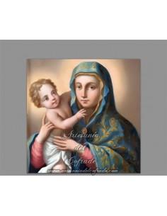 Azulejo cuadrado  de la Virgen Maria con el Niño