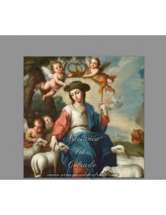 Azulejo cuadrado de la Virgen Pastora