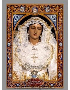 Precioso azulejo rectangula de la Virgen del Rocio (Málaga)