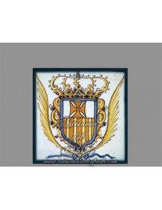 Azulejo cuadrado del antiguo escudo de la  Merced