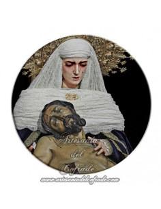 Imán redondo plastico de la Sagrada Mortaja de Sevilla
