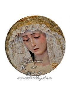 Imán redondo plastico de la Virgen del Rosario de Sevilla (Cofradía de Montesión)