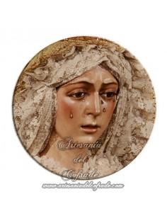 Imán redondo plastico de la virgen de la Esperanza Macarena de Sevilla
