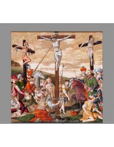 Azulejo cuadrado del calvario de Cristo.