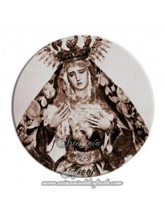 Imán redondo plastico de la virgen antigua de la Hiniesta de Sevilla