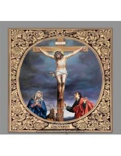 Precioso azulejo cuadrado  con greca del Calvario de Cristo