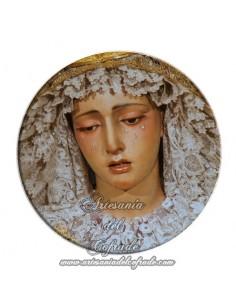 Imán redondo plastico de Ntra. Sra. de la Esperanza de Sevilla (La Trinidad)