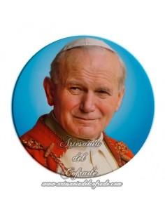 Imán redondo plastico del Papa Juan Pablo II