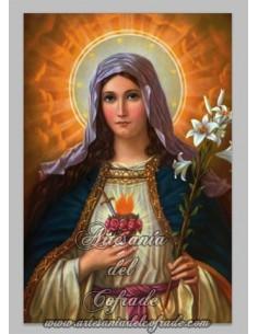 Azulejo rectangular  del Sagrado Corazón de Maria