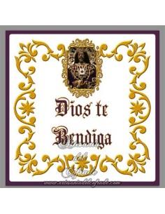 "Precioso azulejo cuadrado Medinaceli ""Dios te Bendiga"""