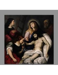 Azulejo cuadrado de  jesús descendido de la Cruz.