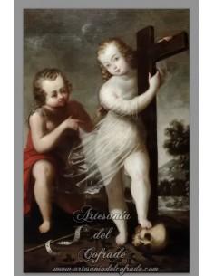 Azulejo rectangular del Niño Jesús abrazando a la Cruz y San Juanito