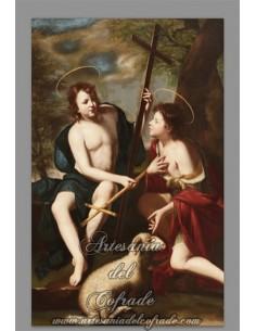 Azulejo rectangular del Niño Jesús y  San Juan
