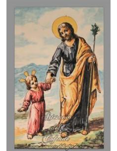 En venta azulejo rectangular de San José y el niño Jesús